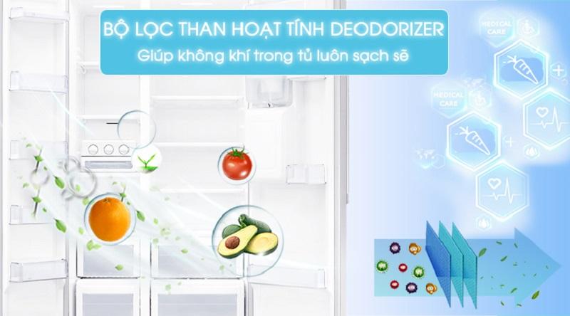 Loại bỏ mùi hôi, vi khuẩn với bộ lọc than hoạt tính Deodorizer - Loại bỏ mùi hôi, vi khuẩn với bộ lọc than hoạt tính Deodorizer - Tủ lạnh Samsung Inverter 538 lít RS52N3303SL/SV