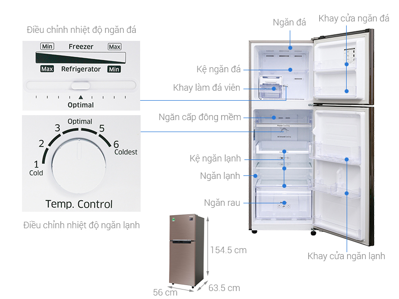 Thông số kỹ thuật Tủ lạnh Samsung Inverter 236 lít RT22M4032DX/SV