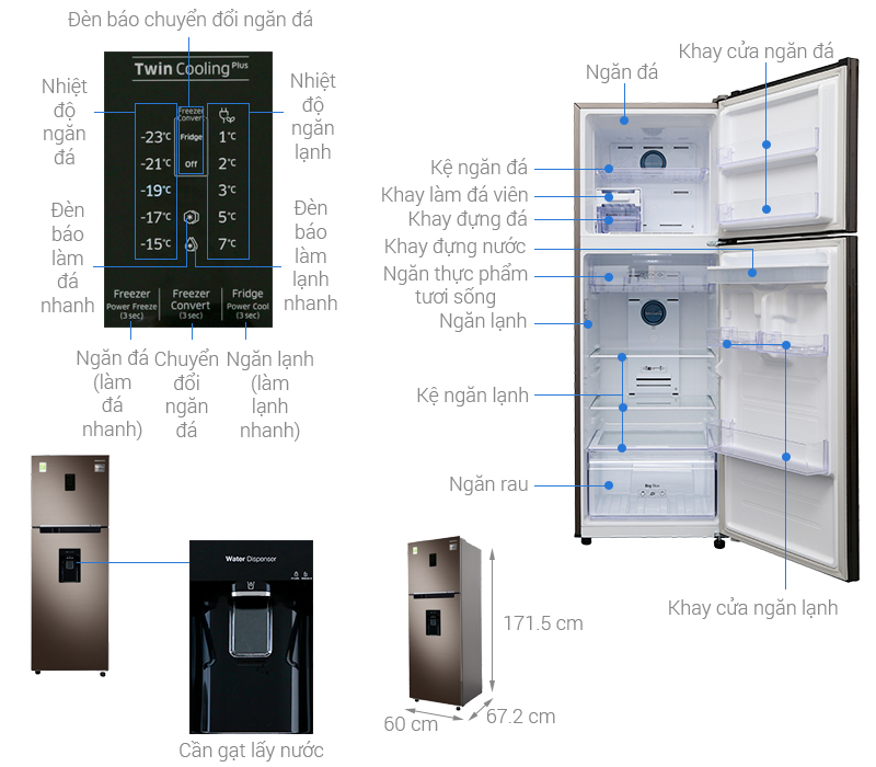 Thông số kỹ thuật Tủ lạnh Samsung Inverter 319 lít RT32K5930DX/SV