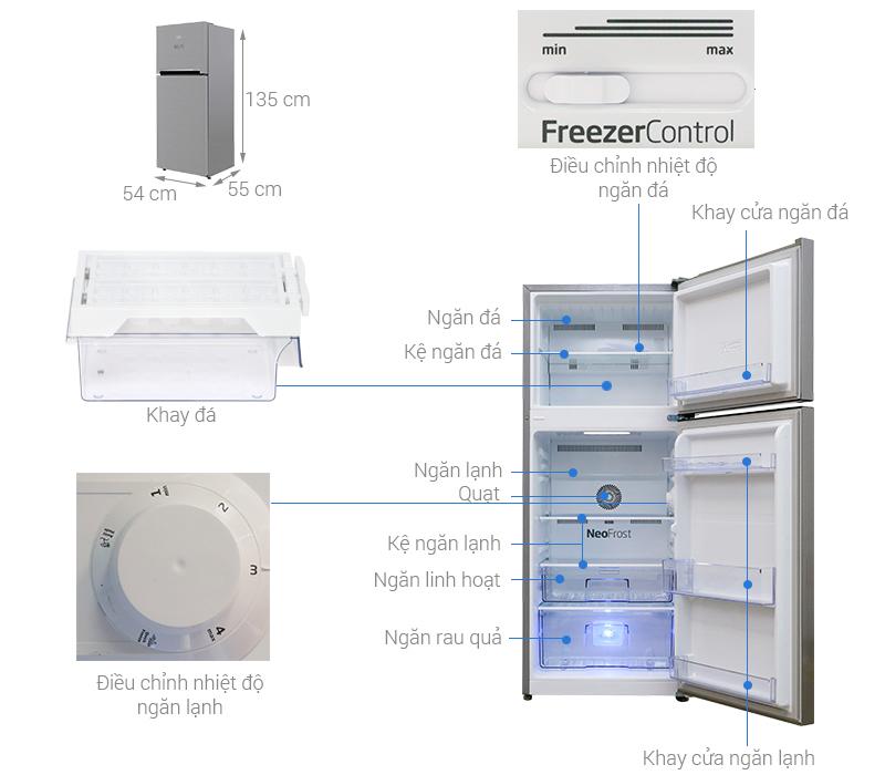 Thông số kỹ thuật Tủ lạnh Beko Inverter 188 lít RDNT200I50VS