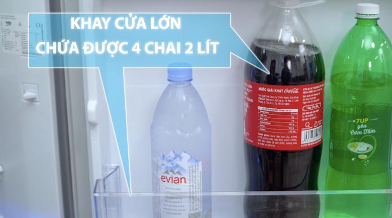 Khay cửa lớn chứa được 4 chai loại 2 lít - Tủ lạnh Beko Inverter 200 lít RDNT200I50VS