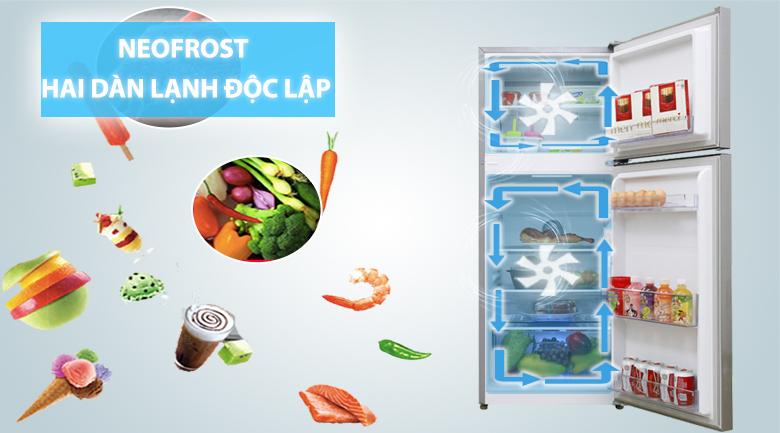 2 dàn lạnh độc lập NeoFrost giúp giữ mùi vị thực phẩm không bị trộn lẫn - Tủ lạnh Beko Inverter 200 lít RDNT200I50VS