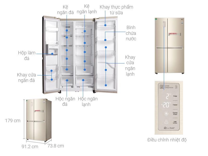 Thông số kỹ thuật Tủ lạnh LG Inverter 626 lít GR-B247JG