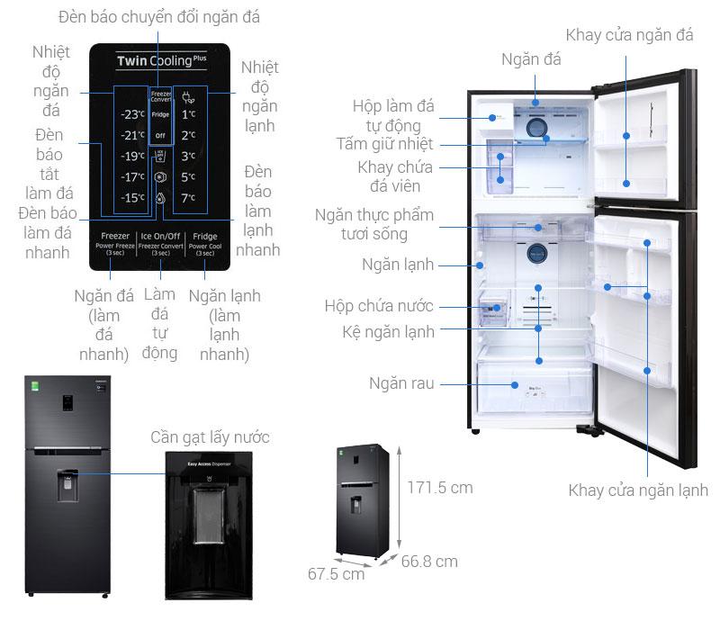 Thông số kỹ thuật Tủ lạnh Samsung Inverter 360 lít RT35K5982BS/SV