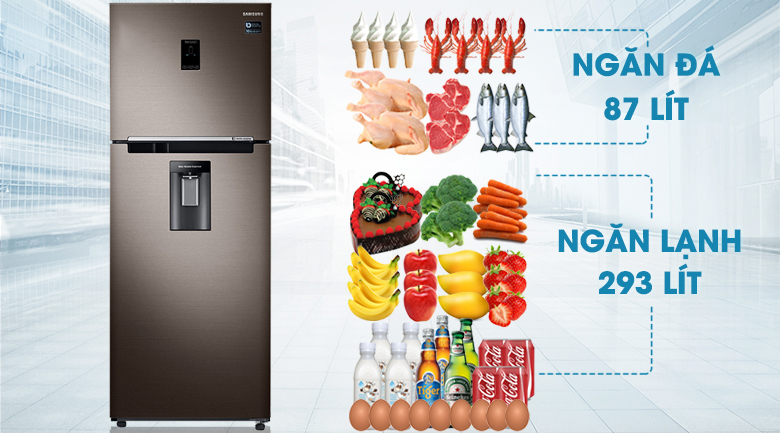 Tổng dung tích tủ lạnh lên đến 380 lít - Tủ lạnh Samsung Inverter 380 lít RT38K5982DX/SV