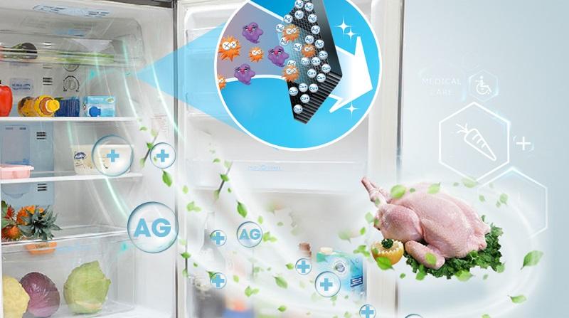 Kháng khuẩn, khử mùi Ag+ ngăn chặn vi khuẩn, mùi hôi phát sinh bên trong tủ