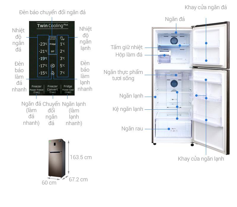 Thông số kỹ thuật Tủ lạnh Samsung Inverter 299 lít RT29K5532DX/SV