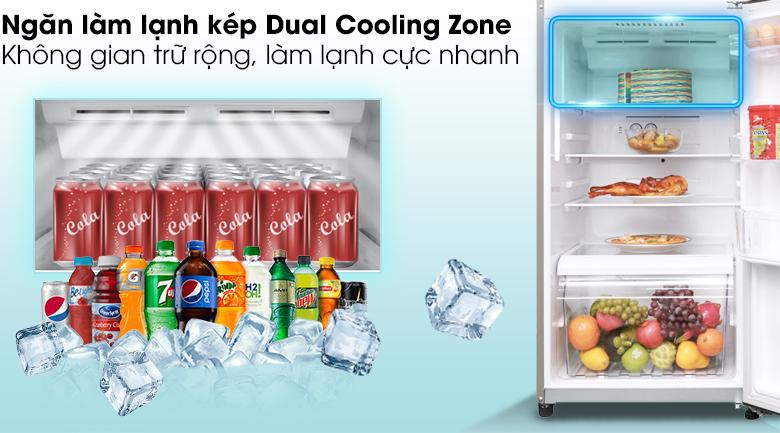Tăng khả năng làm lạnh nhanh gấp 2 lần với ngăn làm lạnh kép Dual Cooling Zone - Tủ lạnh Toshiba Inverter 305 lít GR-A36VUBZ DS