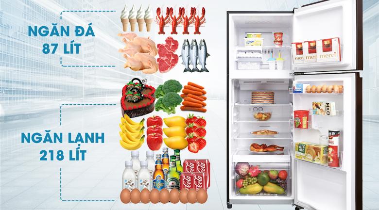 Tủ lạnh Toshiba Inverter 305 lít GR-AG36VUBZ XB - Dung tích