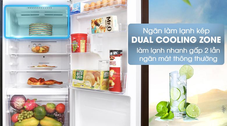 Ngăn làm lạnh kép Dual Cooling Zone tăng khả năng làm lạnh nhanh gấp 2 lần - Tủ lạnh Toshiba Inverter 305 lít GR-AG36VUBZ XB
