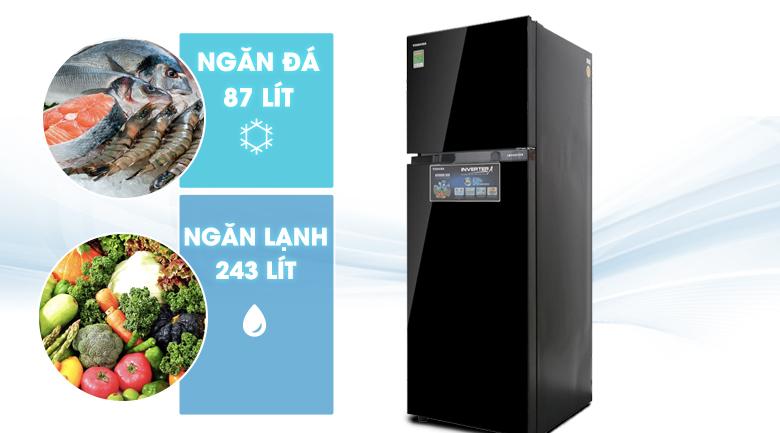 Tủ lạnh Toshiba Inverter 330 lít GR-AG39VUBZ XK - Dung tích