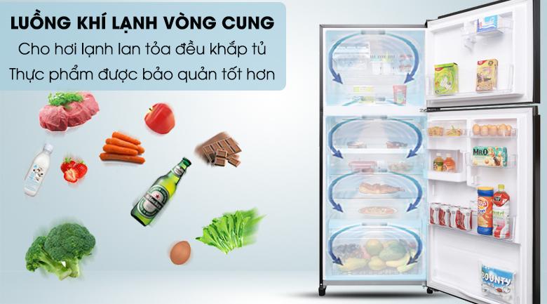 Thực phẩm được làm lạnh đồng đều và hiệu quả với luồng khí lạnh vòng cung - Tủ lạnh Toshiba Inverter 359 lít GR-AG41VPDZ XK