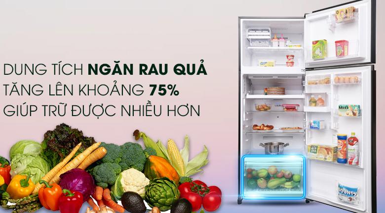 Ngăn chuyên biệt giữ ẩm cho rau quả tươi ngon, mọng nước - Tủ lạnh Toshiba Inverter 409 lít GR-AG46VPDZ XK