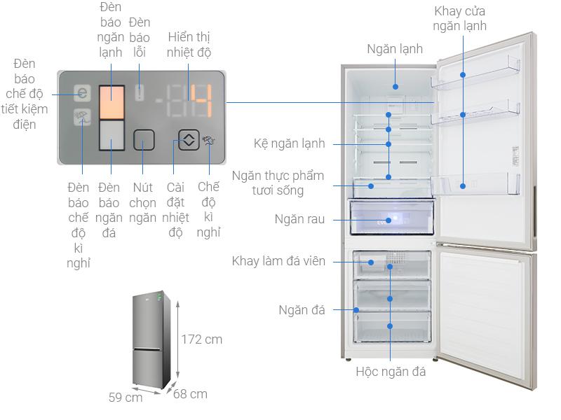 Thông số kỹ thuật Tủ lạnh Beko Inverter 323 lít RCNT340I50VZX