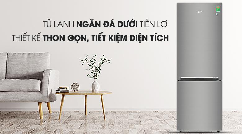 Tủ lạnh Beko Inverter 323 lít RCNT340I50VZX - Thiết kế ngăn đá dưới hiện đại, sang trọng