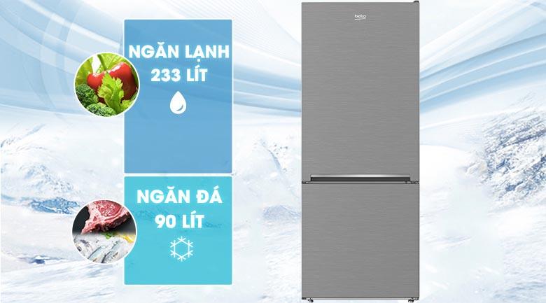 Dung tích 323 lít - Tủ lạnh Beko Inverter 323 lít RCNT340I50VZX