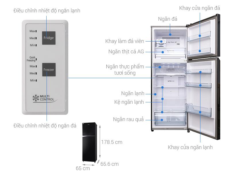Thông số kỹ thuật Tủ lạnh Panasonic Inverter 366 lít NR-BL389PKVN