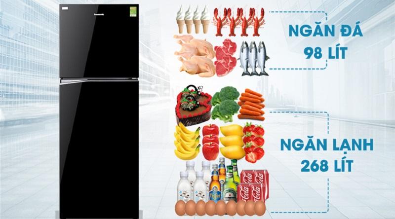 Dung tích lớn, tạo thêm không gian bảo quản thực phẩm cho bạn - Tủ lạnh Panasonic Inverter 366 lít NR-BL389PKVN