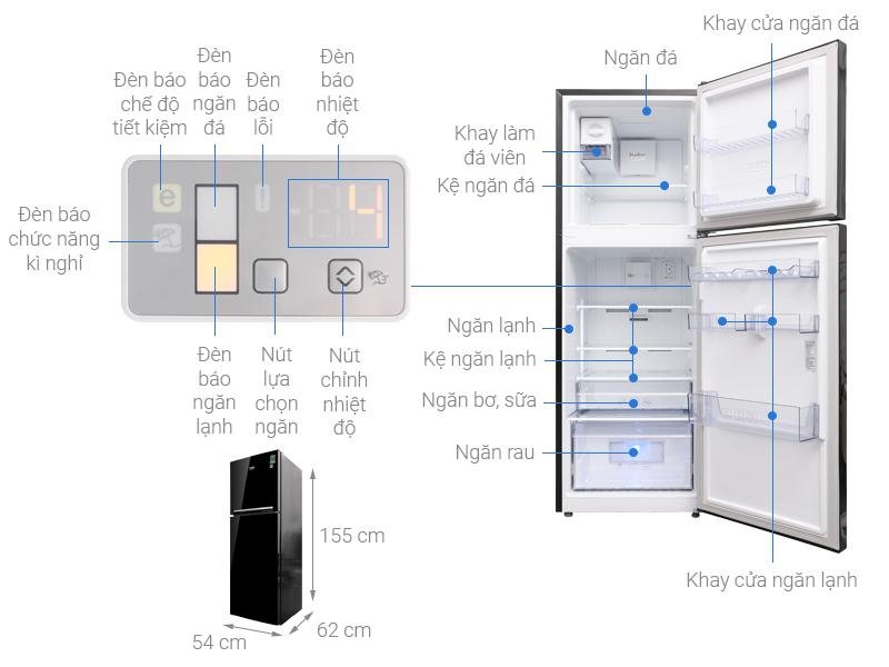 Thông số kỹ thuật Tủ lạnh Beko Inverter 221 lít RDNT250I50VWB
