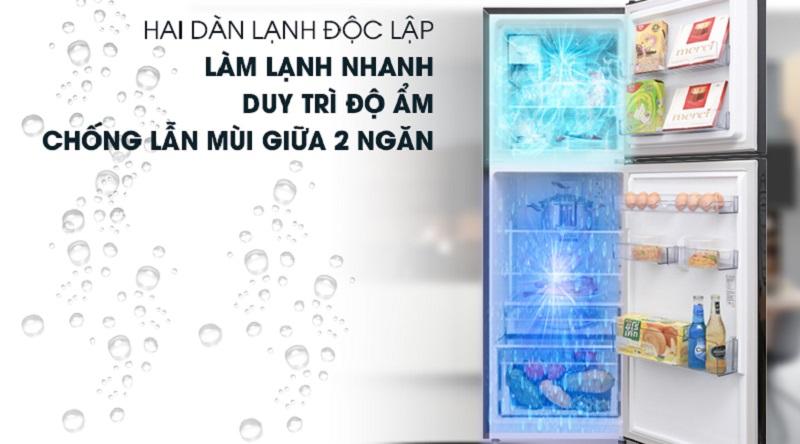 Công nghệ làm lạnh: NeoFrost 2 dàn lạnh độc lập - Tủ lạnh Beko Inverter 250 lít RDNT250I50VWB