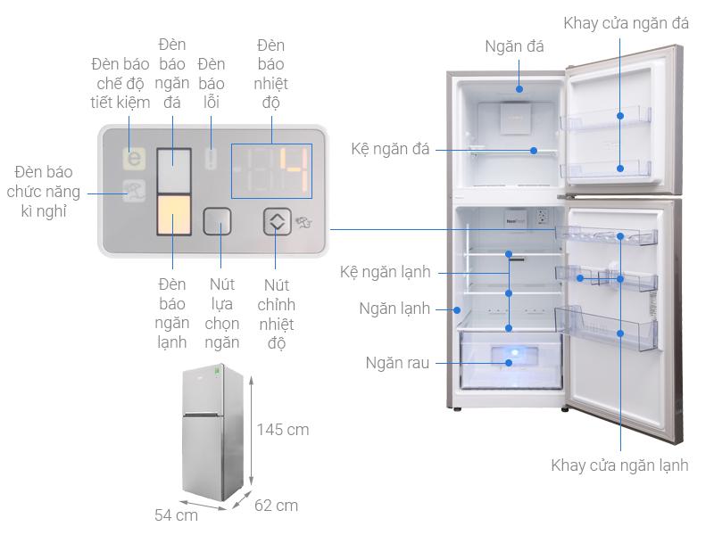 Thông số kỹ thuật Tủ lạnh Beko Inverter 201 lít RDNT230I50VS