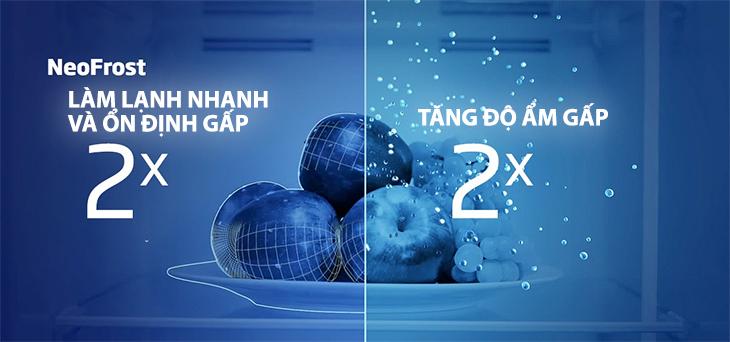 Công nghệ làm lạnh NeoFrost Technology với hai dàn lạnh độc lập - Tủ lạnh Beko Inverter 230 lít RDNT230I50VS