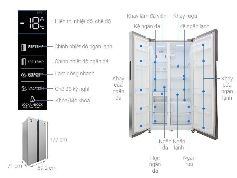 Thông số kỹ thuật Tủ lạnh Midea Inverter 530 lít MRC-690SS