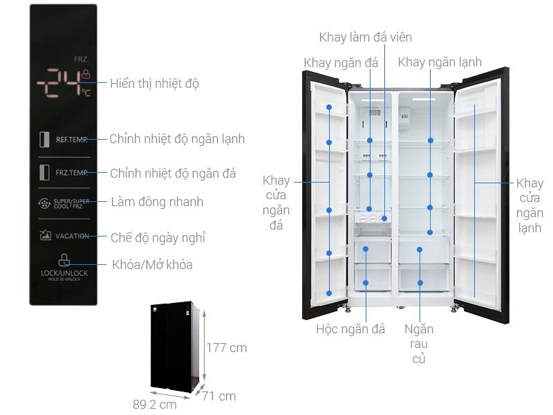 Thông số kỹ thuật Tủ lạnh Midea Inverter 530 lít MRC-690GS