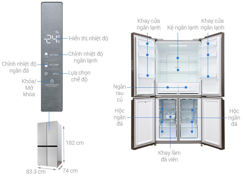 Thông số kỹ thuật Tủ lạnh Midea Inverter 482 lít MRC-626FWEIS