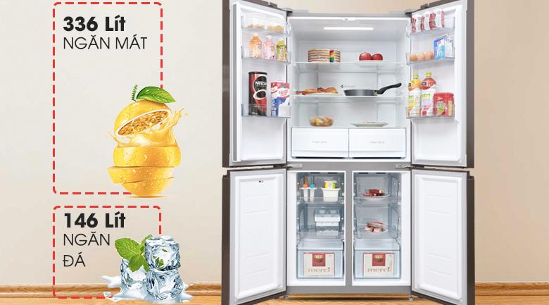 Tủ lạnh Midea MRC-626FWEIS - Dung tích