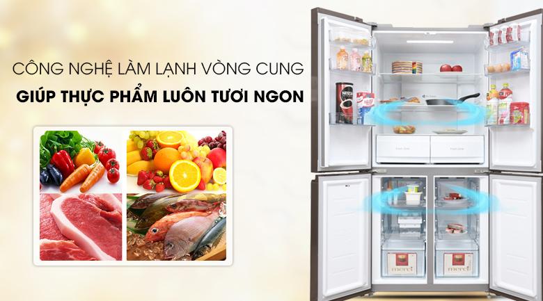 Tủ lạnh Midea 482 lít MRC-626FWEIS - G - Làm lạnh vòng cung