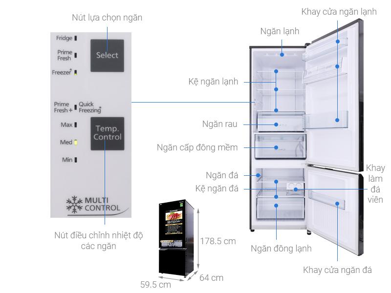 Thông số kỹ thuật Tủ lạnh Panasonic Inverter 322 lít NR-BC369QKV2