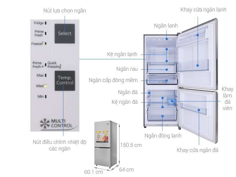 Thông số kỹ thuật Tủ lạnh Panasonic Inverter 255 lít NR-BV289QSV2