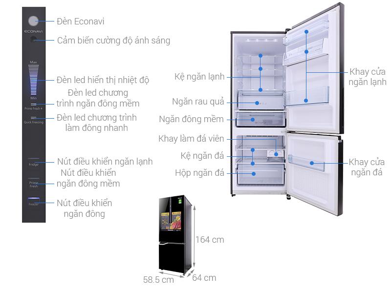 Thông số kỹ thuật Tủ lạnh Panasonic Inverter 290 lít NR-BV328GKV2