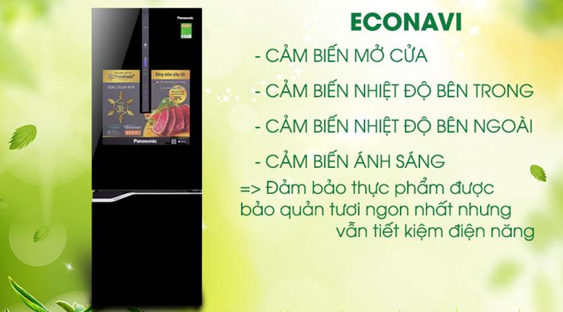 Công nghệ Econavi với cảm biến đa điểm thông minh - Tủ lạnh Panasonic Inverter 322 lít NR-BV368GKV2
