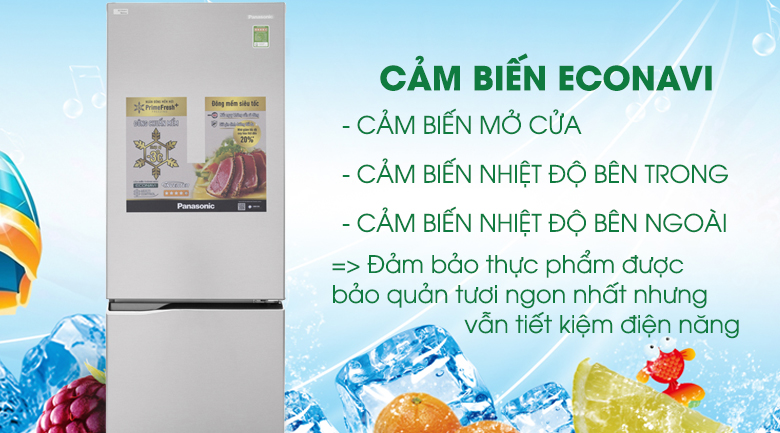 Cảm biến Econavi giúp tiết kiệm điện năng hiệu quả - Tủ lạnh Panasonic Inverter 290 lít NR-BV329QSV2