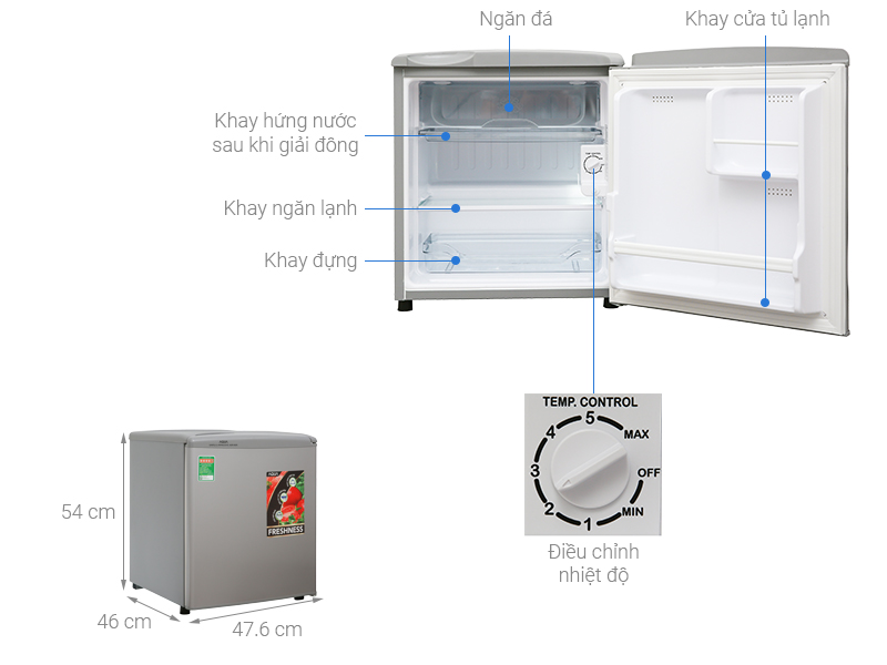 Thông số kỹ thuật Tủ lạnh Aqua 50 lít AQR-55ER (SS) Xám Nhạt