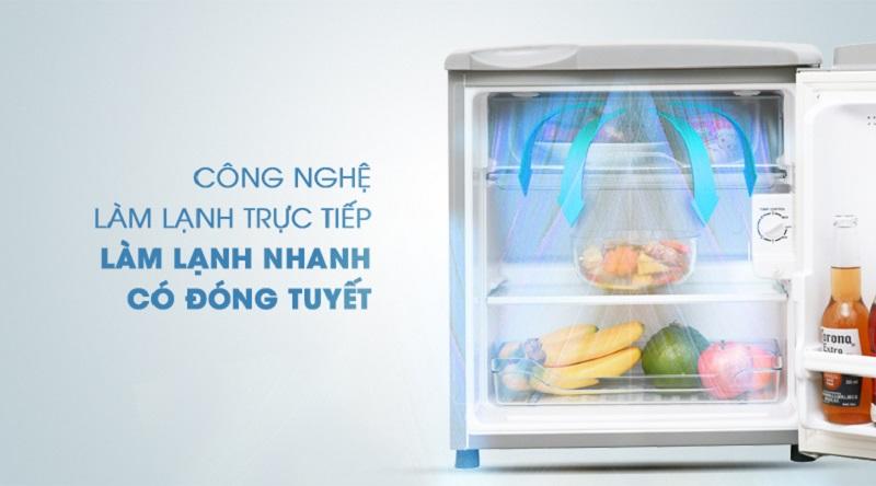 Sử dụng công nghệ làm lạnh trực tiếp - Tủ lạnh Aqua 50 lít AQR-55ER (SS) Xám Nhạt