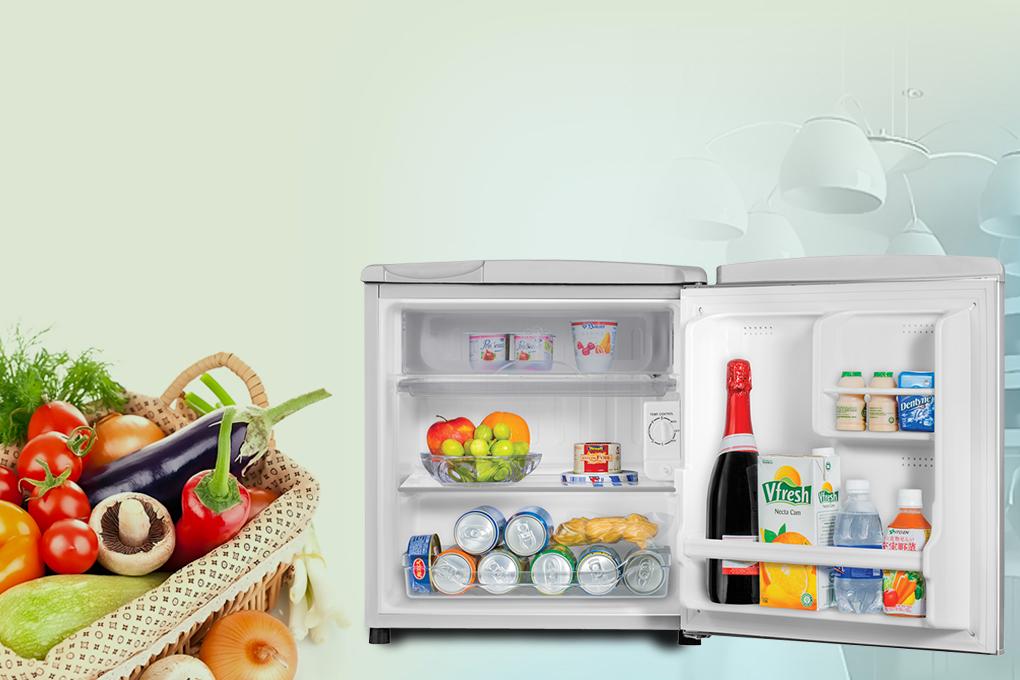 Tủ lạnh Aqua 50 lít AQR-55ER (SS) Xám Nhạt - Công nghệ làm lạnh trực tiếp nhanh chóng làm lạnh thực phẩm