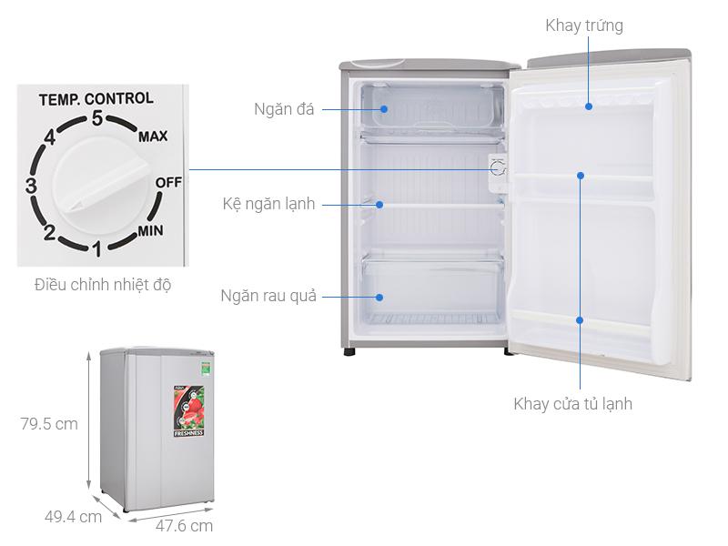 Thông số kỹ thuật Tủ lạnh Aqua 90 lít AQR-95ER (SS) Xám