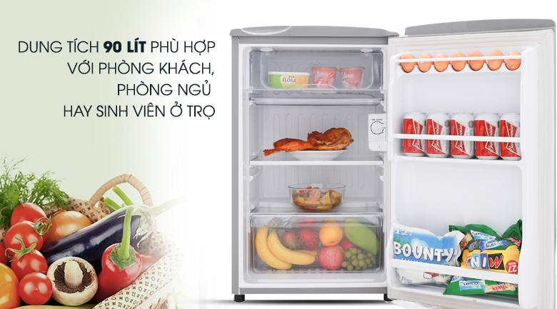 Dung tích 90 lít phù hợp với những người độc thân - Tủ lạnh Aqua 90 lít AQR-95ER (SS)