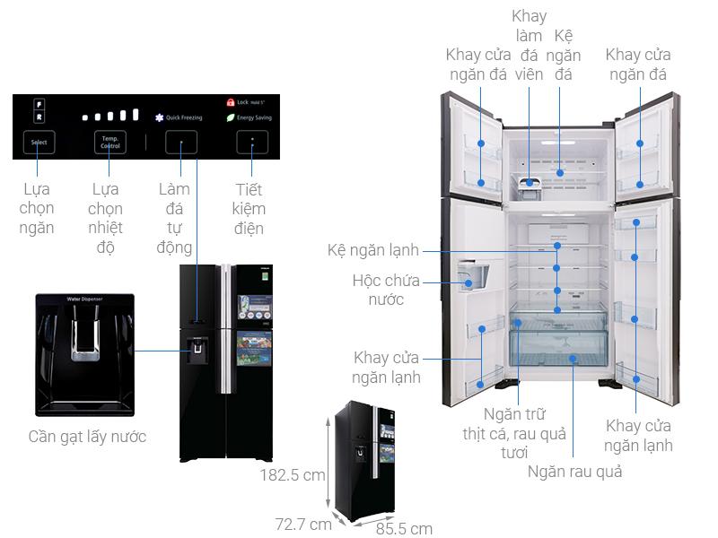 Thông số kỹ thuật Tủ lạnh Hitachi Inverter 540 lít R-FW690PGV7 GBK