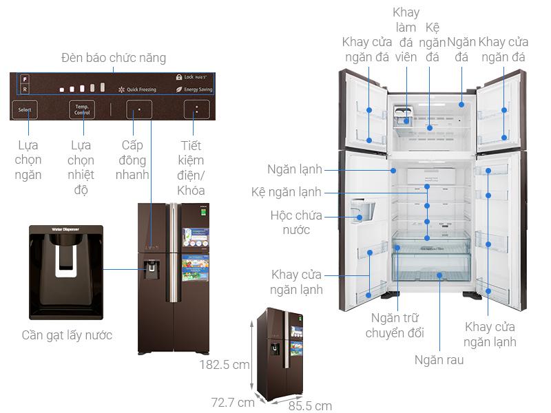 Thông số kỹ thuật Tủ lạnh Hitachi Inverter 540 lít R-FW690PGV7 GBW