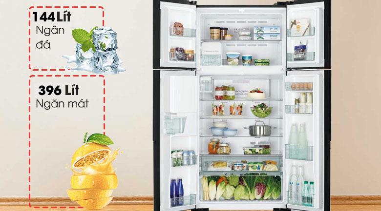 Dung tích 540 lít - Tủ lạnh Hitachi Inverter 540 lít R-FW690PGV7 GBW