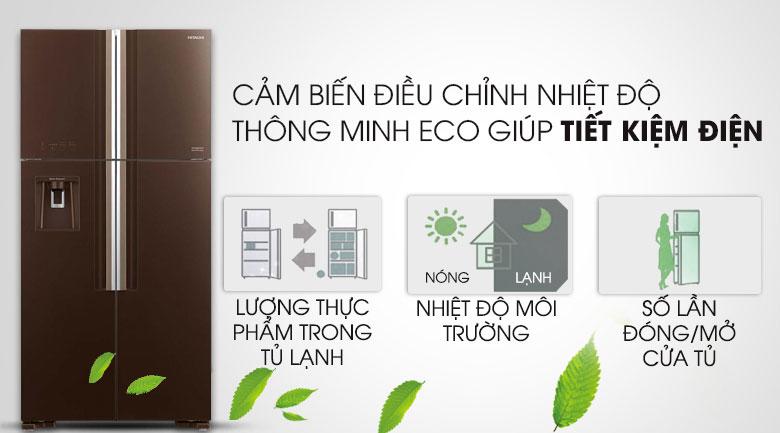 Trang bị cảm biến nhiệt Eco - Tủ lạnh Hitachi Inverter 540 lít R-FW690PGV7 GBW