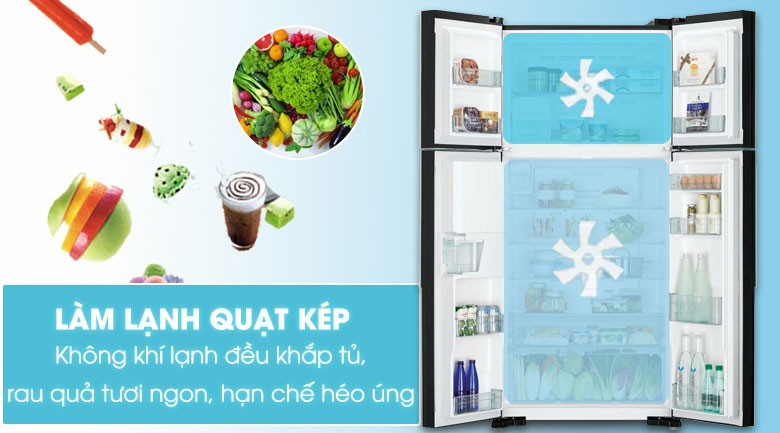 Công nghệ làm lạnh kép - Tủ lạnh Hitachi Inverter 540 lít R-FW690PGV7 GBW