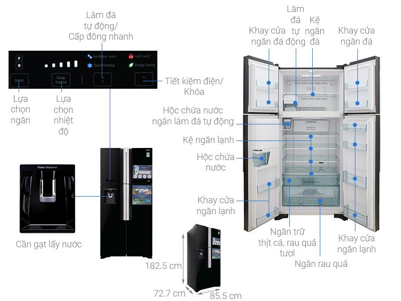 Thông số kỹ thuật Tủ lạnh Hitachi Inverter 540 lít R-FW690PGV7X GBK