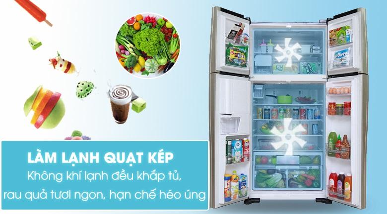 Làm lạnh quạt kép - Tủ lạnh Hitachi Inverter 540 lít R-FW690PGV7X GBK