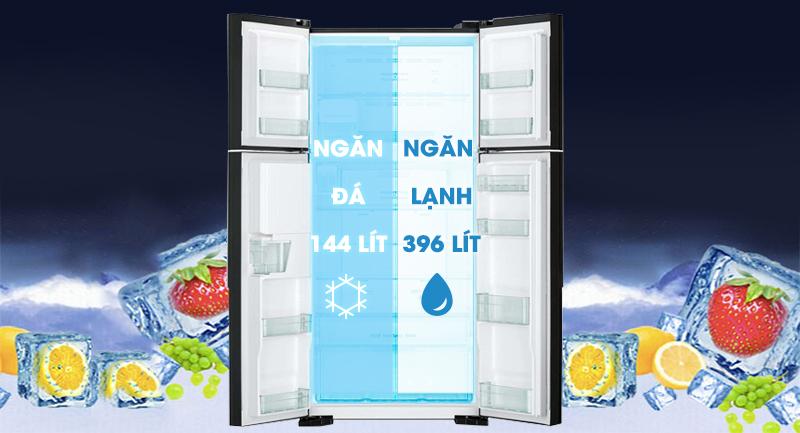 Tủ lạnh Hitachi Inverter 540 lít R-FW690PGV7X GBW-Dung tích 540 lít, thích hợp cho gia đình trên 4 người