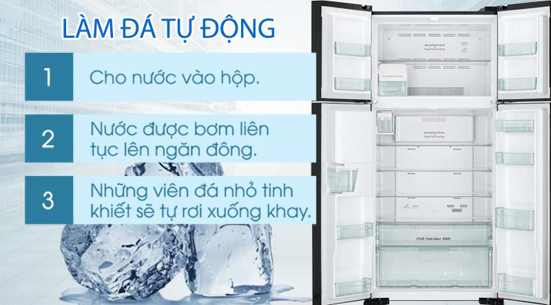 Tủ lạnh Hitachi Inverter 540 lít R-FW690PGV7X GBW-Tiết kiệm thời gian làm đá với chế độ đá tự động